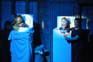 Avenue Q set - flying beds. Puppets (and actors) not included!