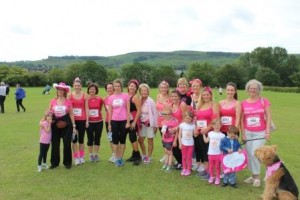 BrassNeck ladies (plus boys & a dog!) at Race for Life, Ilkley