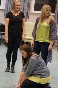 Helen Wrigglesworth, Brogan Hollindrake and Lisa Simpson in rehearsals